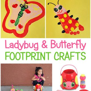 Cheerful Butterfly and Ladybug Footprint Craft