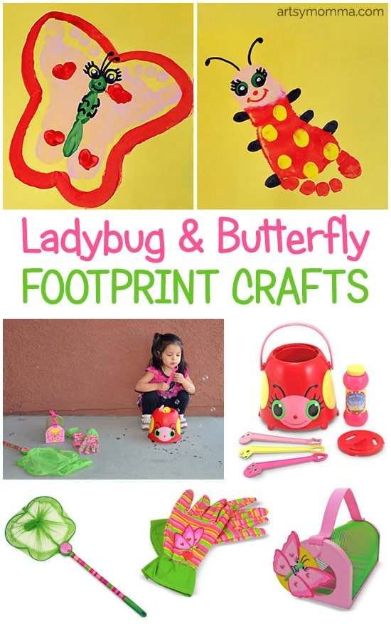 Make a darling ladybug and butterfly footprint craft inspired by our favorite Melissa & Doug Toys!