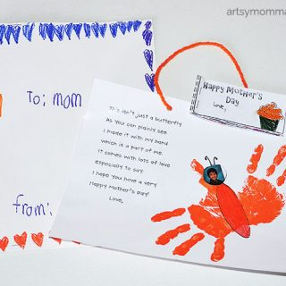 Kindergarten Mother's Day Poem & Handprint Butterfly Craft