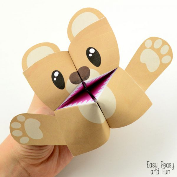 Super Cute Teddy Bear Cootie Catcher Printable Craft for Kids