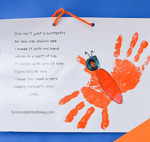 Mother's Day Handprint Butterfly & Poem Keepsake