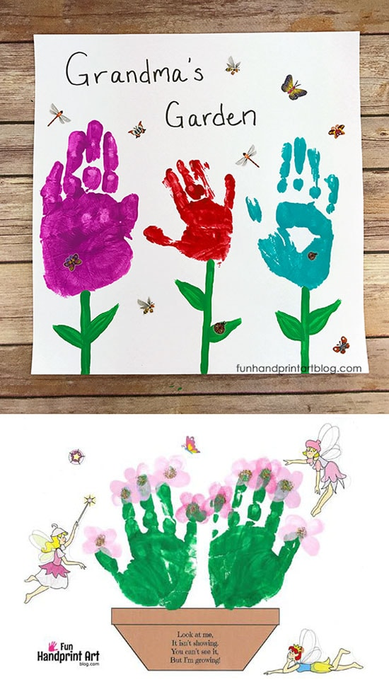 Flower Garden Handprint Crafts to Make Grandmas for Mother's Day