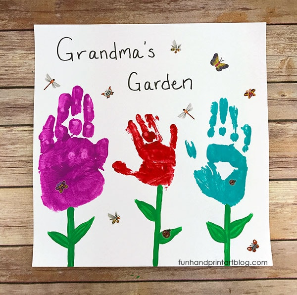 Pretty Grandma's Garden Handprint Keepsake - Perfect for Mother's Day or Grandparent's Day