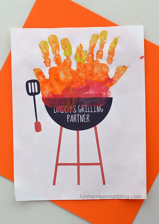 Pair this Printable Handprint Grill Craft with BBQ Items for a Fun Father's Day Gift from Kids
