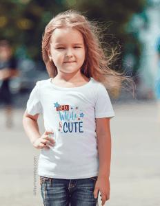 Girls Patriotic Red, White, & Cute Graphic Tee Shirt