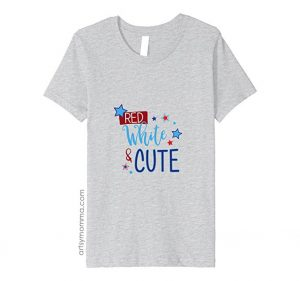 Cute 4th of July Shirt for Kids Featuring the Saying Red White & Cute