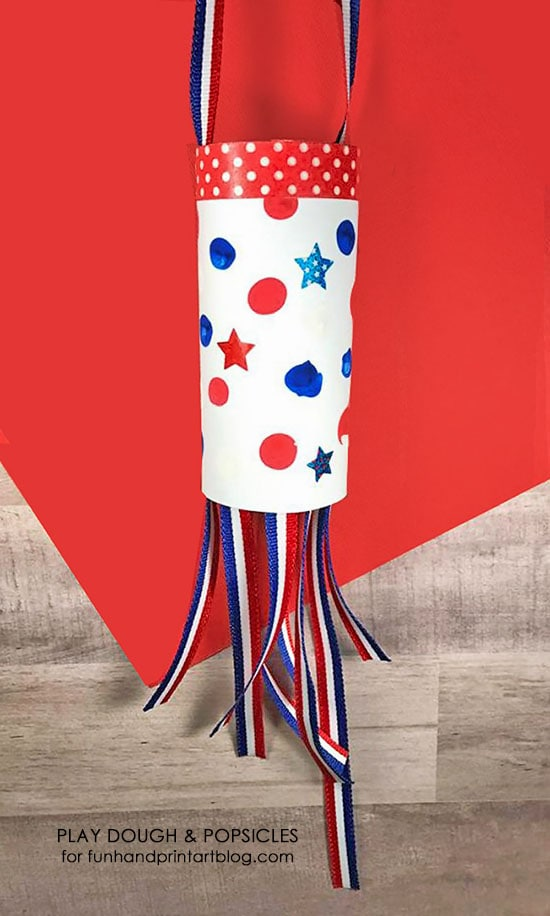 Patriotic Fingerprint Windsock Craft for kids