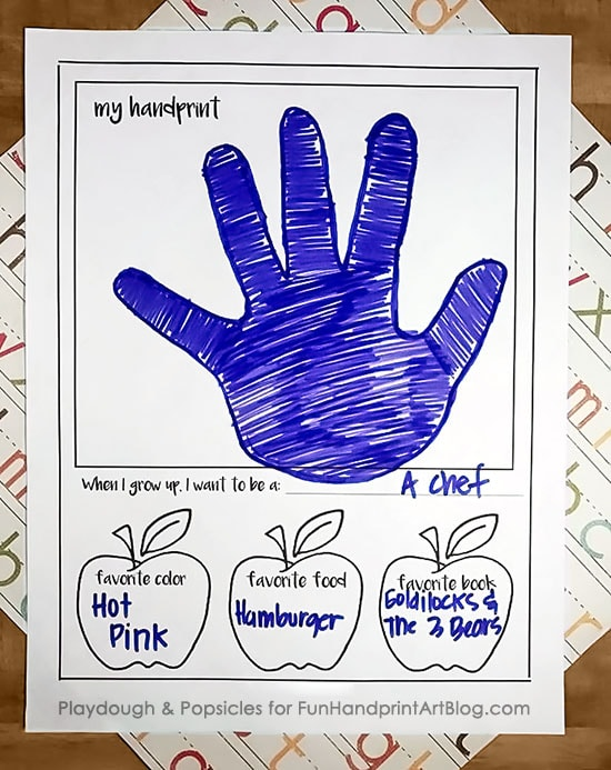Printable 1st Day of School Interview Keepsake with spots for handprint and photo!