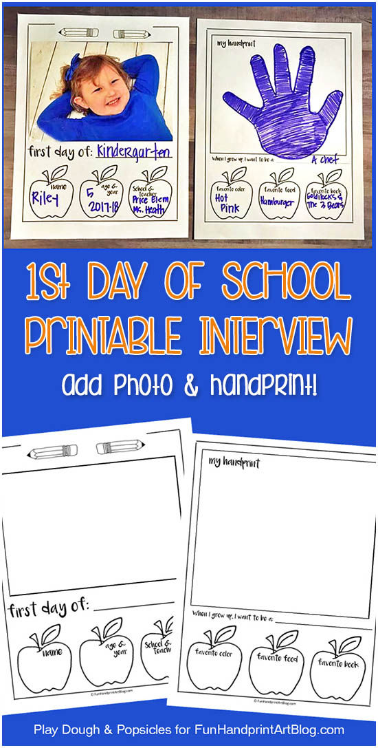 First Day Of School Printable Interview Photo Keepsake