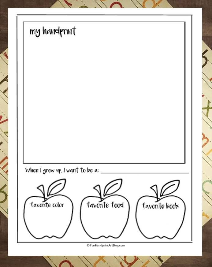 First Day Of School Interview Printable with Photo and Handprint