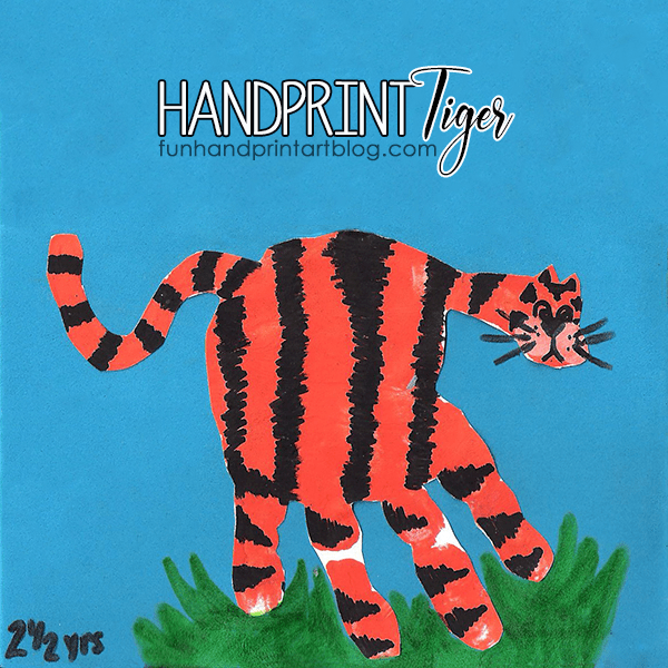 Jungle Safari Craft: Handprint Tiger