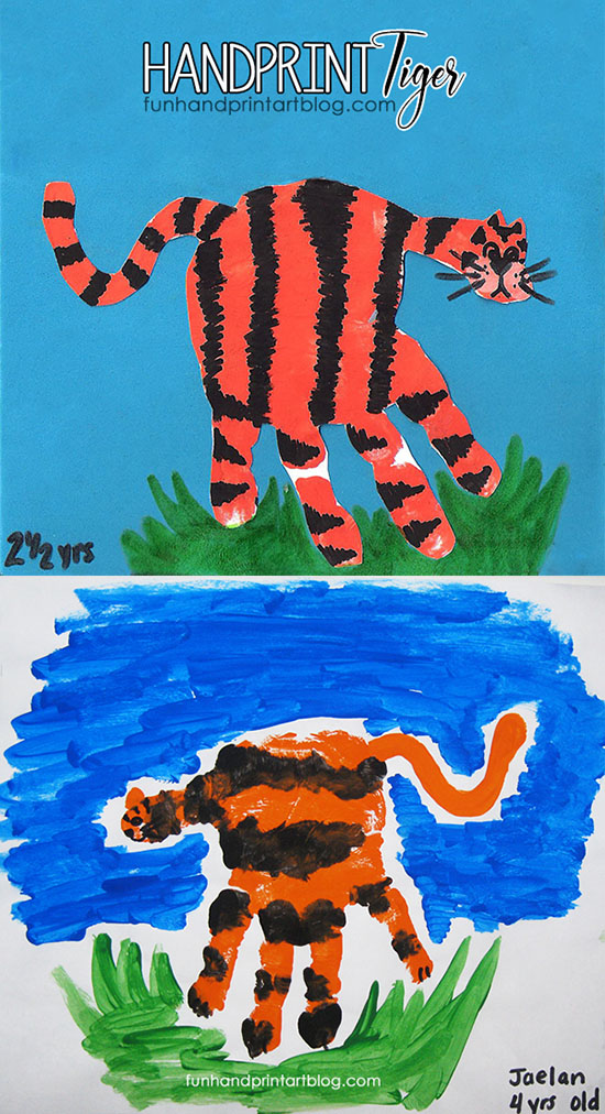 Hand Print Tiger Craft for Preschoolers & Kindergarteners