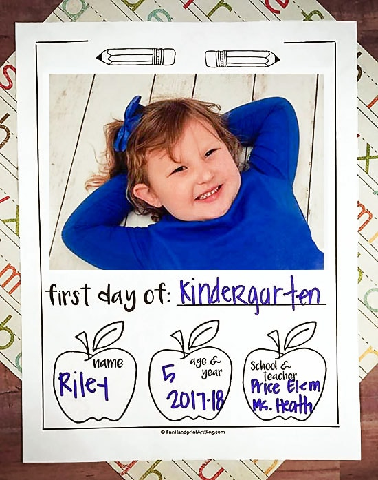 1st Day Of School Interview Printable with Photo and Handprint