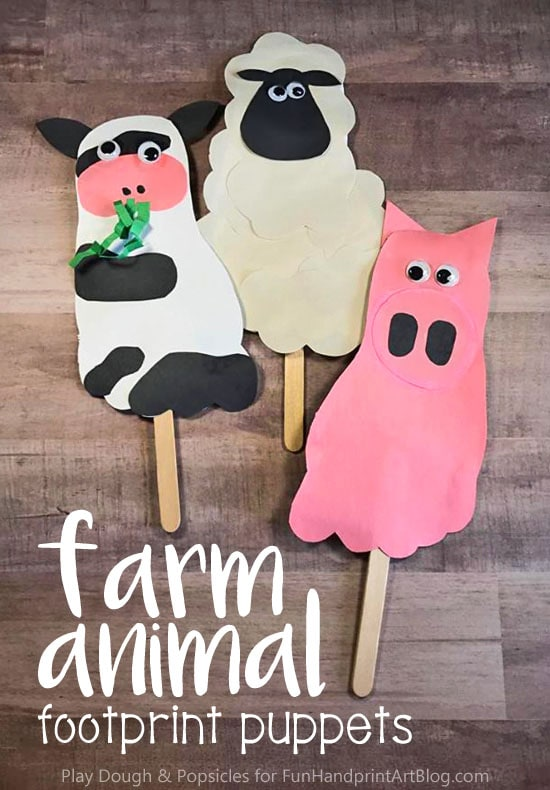 How to turn footprints into adorable Farm Animal Puppets for pretend play & storytelling. Make a sheep, cow, and pig puppet.