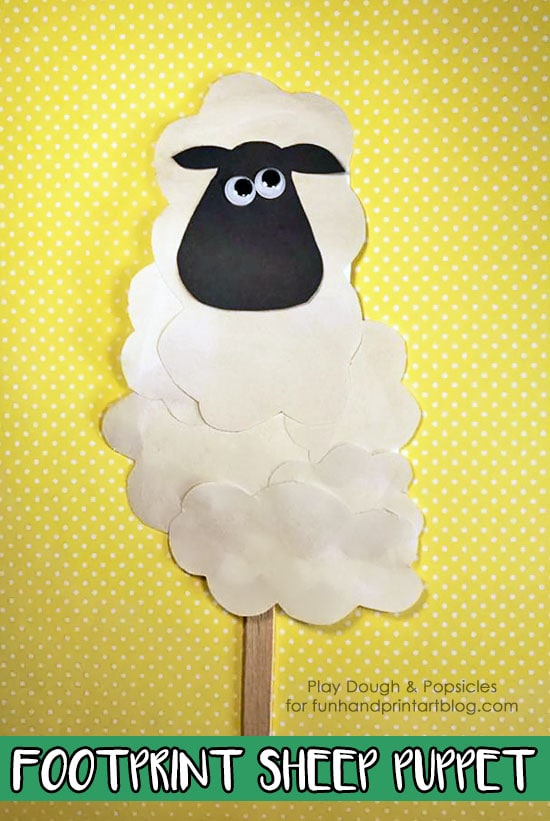 Footprint Sheep Craft Stick Puppet - Fun for a farm unit or to use as a story prop for your favorite farm books!