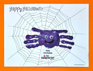 Handprint Spider Halloween Card Icluding a Free Printable Spider Web Template