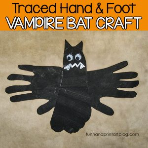 Traced Hand & Foot Vampire Bat Craft for Halloween
