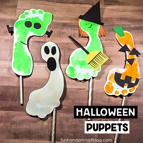 Halloween Charcter Puppets Craft for Kids: Footprint Frankenstein, Ghost, Jack-o-lantern, and Witch