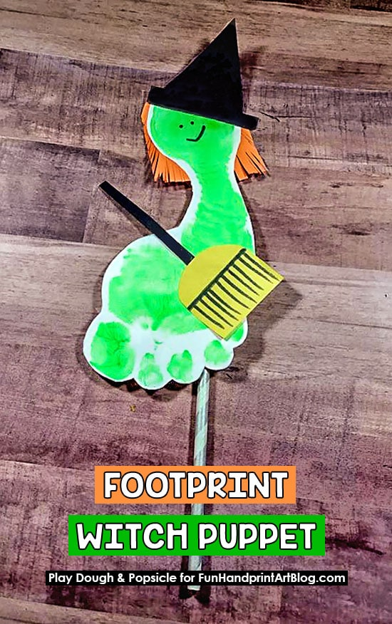 Footprint Witch Puppet On A Stick Craft for Halloween