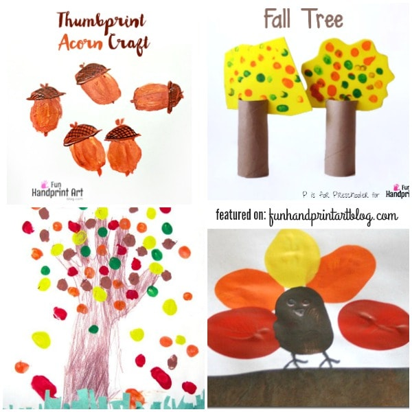 Bring Fall's beauty indoors with these easy Autumn arts and crafts for kids made with fingerprints and thumbprints!