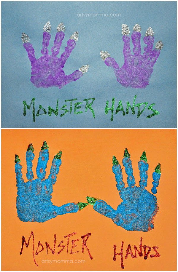 Halloween Monster Hands Art Project for Preschoolers