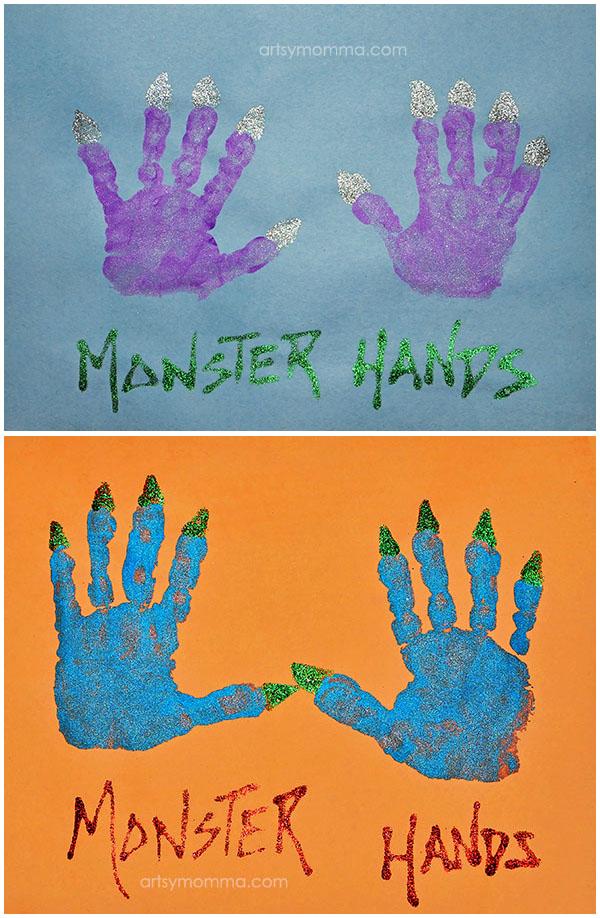 Halloween Monster Hands Art Project for Preschoolers