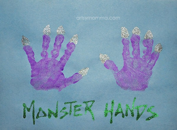 Handprint Monster Hands - cute for preschoolers!