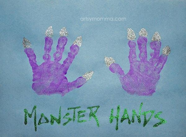 Handprint Monster Hands - cute for preschoolers!