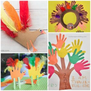 Thanksgiving Handprint and Footprint Crafts. Create adorable turkey crafts with these Thanksgiving ideas for kids.