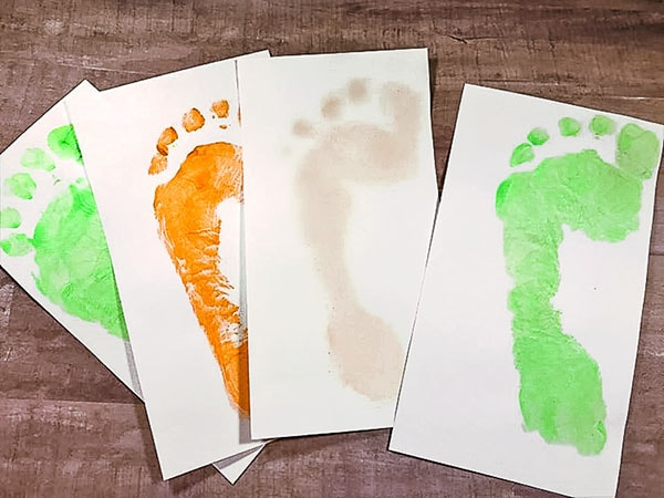 halloween footprints: green, orange, white