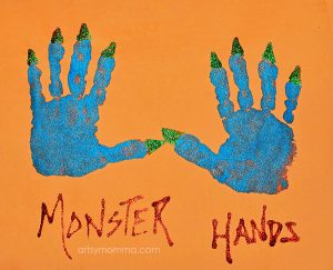 Monster Handprints Halloween Craft