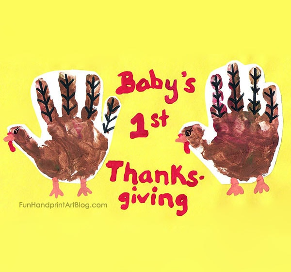 Baby's 1st Handprint Turkey Keepsake Art for Thanksgiving