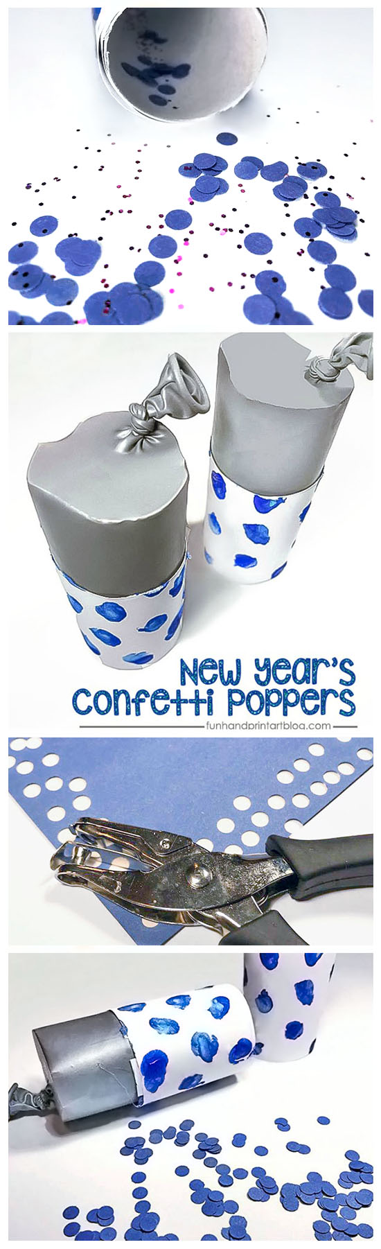 New Year's Eve Cardboard Tube Party Poppers with Confetti for Kids to Make
