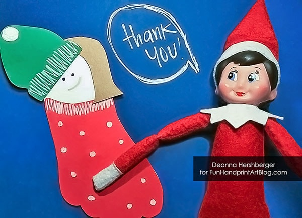 Elf On The Shelf Footprint Craft for Christmas