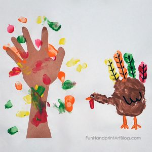 Making Yearly Thanksgiving Turkey and Fall Tree Art Keepsake with Kids