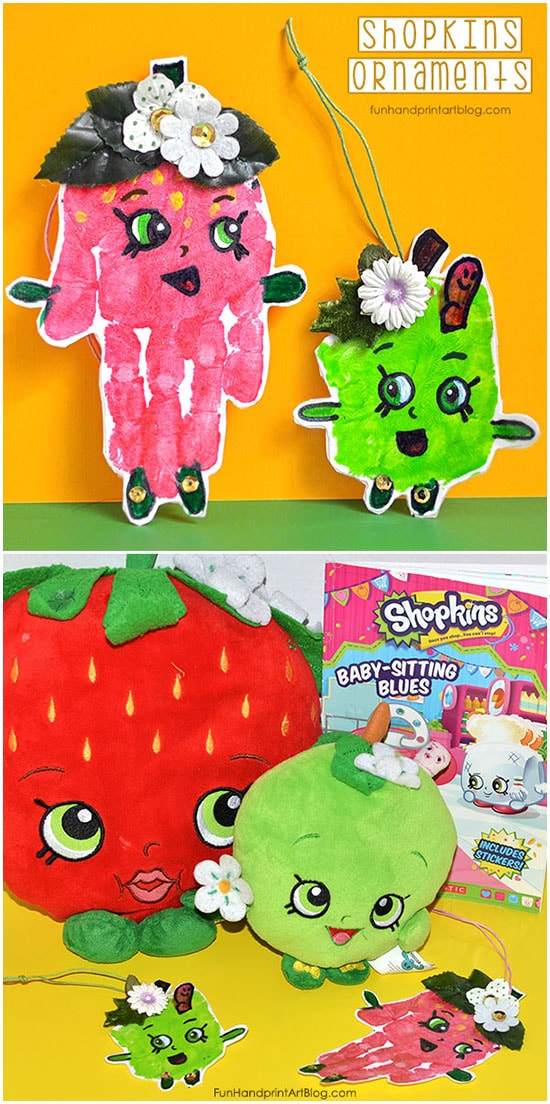 Shopkins Handprint Ornaments: STrawberry Kiss & Apple Blossom
