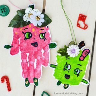 Handprint Shopkins Ornaments – Strawberry Kiss and Apple Blossom Craft