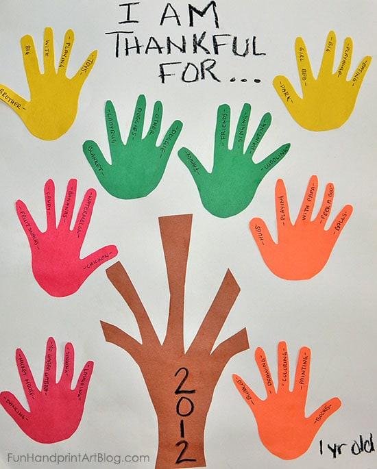 Tree of Thanks Handprint Craft for Toddler & Preschoolers - Traced Hand Cutouts