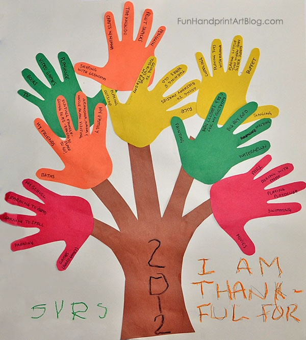 Kids Thanksgiving Idea: Thankful Tree Craft with Traced Hand Leaves
