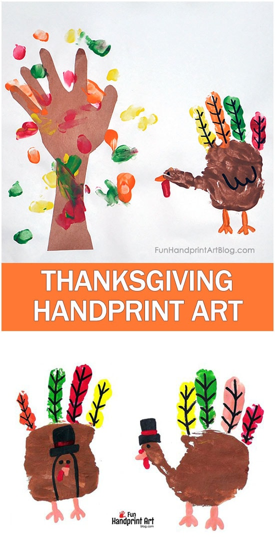 Thanksgiving Turkey Art Scene with a Fall Fingerprint - Pilgrim Handprint Turkeys