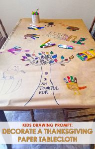 Keep kids from being bored by creating a Thanksgiving Tablecloth. Doodle, make Turkey Hand Drawings, & and a Gratitude Tree of Thanks