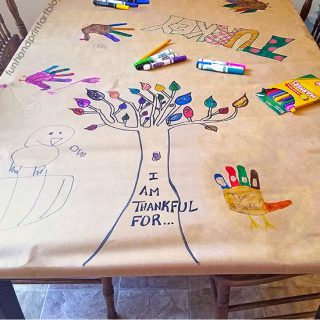 Fun Thanksgiving Tablecloth Idea with Writing and Drawing Prompts