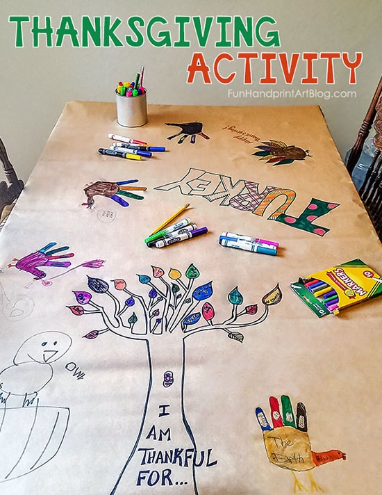 Invitation to Create a Thanksgiving Tablecloth with Hand Turkey Drawings