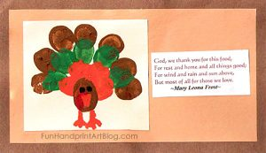 Fingerprint Turkey Thanksgiving Prayer Card Craft