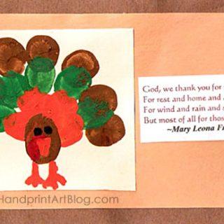 Fingerprint Turkey Thanksgiving Prayer Card Craft