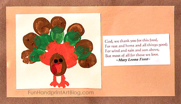 Creative Fingerprint and Thumbprint Turkey Prayer Cards for Kids to Make