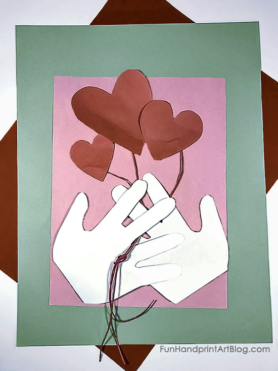 Handprints Holding Heart Balloon Bouquet - Kid Made Valentine's Day Card