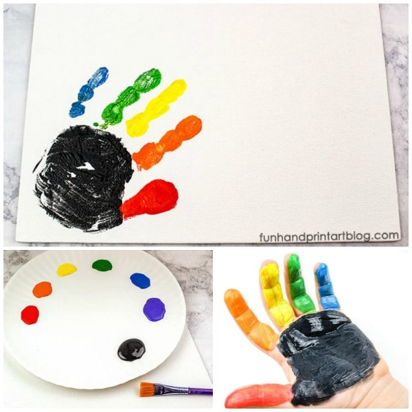 Rainbow Handprint & Pot of Gold on a Canvas