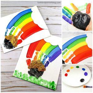 St Patrick's Day Handprint Rainbow Canvas Art Keepsake Tutorial for Kids