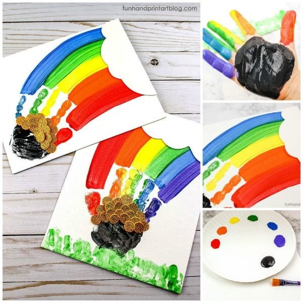 Kids St Patrick's Day Handprint Rainbow Canvas Art Keepsake Tutorial